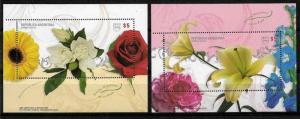 ARGENTINA 2008 UPAEP AMERICA FLOWERS UNUSUAL COATING YV BL 97-8 Mi BL 98-9 MNH