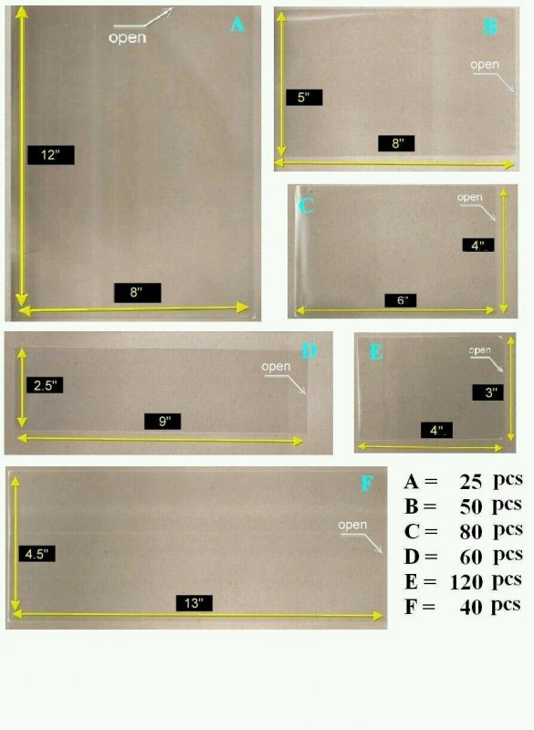 *FREE SHIP OPP Plastic Sleeve with 6 Diff Size [Combo Set Medium Pack for Stamp