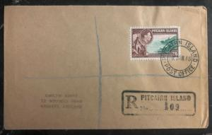 1948 Pitcairn Island Registered Cover To Grimsby England 2/6