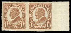 PCBstamps  US # 576 Pair 3c(2x1.5c)Warren G. Harding, Imperf. 1925, MNH, (1)