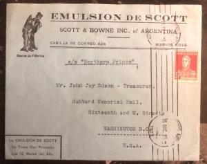 1918 Buenos Aires Argentina Advertising  Cover To Washington Usa Scotts Emulsion