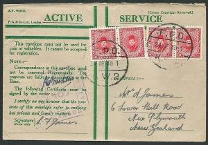 NEW ZEALAND FORCES IN EGYPT 1940 Honour envelope, Army Post................41573