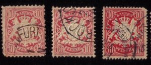 BAVARIA-Bayern-Scott #50 x 3 Each USED Early German States F-V