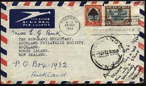 SOUTH AFRICA 1953 airmail cover to NZ 2/6d + 6d Offcial....................99448
