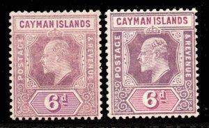 Cayman Islands 1907 EDVII 6d BOTH SHADES wmk MCCA SG 30, 30a mint CV £59