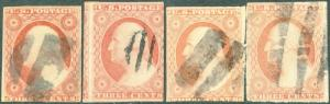 #11 (4) DIFFERENT USED OPEN GRID CANCELS CV $60.00 BP1982