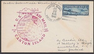 GILBERT & ELLICE IS US PO 1940 first flight cover Canton Is to Hawaii.......A795