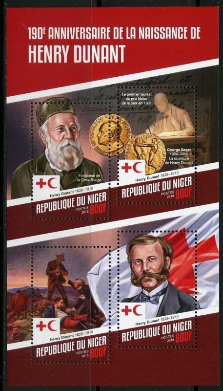 NIGER 2018 190th BIRTH ANNIVERSARY OF HENRY DUNANT RED CROSS  SHEET  MINT NH