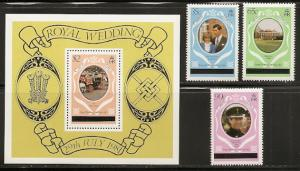 Caicos Islands 8-11 1981 Diana Wedding set and s.s. NH
