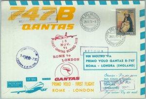 84698 - VATICANO - Postal History - FIRST FLIGHT Rome \ LONDON # 825 1971 QANTAS
