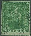 Barbados SC#5 Britannia, (1/2d), green, Imperf Used