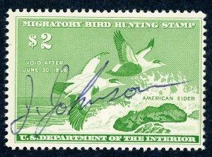 #RW24 – 1957 $2.00 American Eider.  Used.