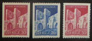Sweden 677-79. 1965 Visby Town Wall, NH