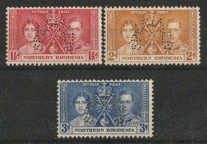 NORTHERN RHODESIA 1937 KGVI Coronation set 1½d-3d perf SPECIMEN. MNH **.