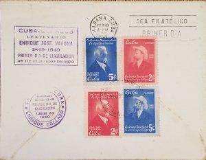 O) 1950 CUBA, CARIBBEAN, ENRIQUE JOSE VARONA, WRITER AND PATRIOT, FDC XF