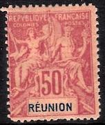French Colonies, Reunion, #48, Unused, CV$ 72.00