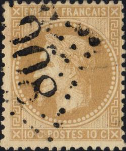 FRANCE - Yv.28A 10c bistre (type I) obl. GC 908 (Chartres)