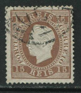 Portugal 1875 15 reis lilac brown used