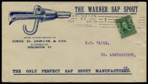 #300 1906 VF BLUE ILLUST. ADVERTISING THE WARNER SAP SPOUT COVER BQ2501