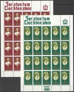 EC066 1980 LIECHTENSTEIN EUROPA CEPT ART FAMOUS PEOPLE !! MICHEL 32 EURO 2SH MNH