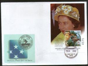 Micronesia 2002 Queen Elizabeth II 50th Anniversary Sc 484 M/s FDC # 9720