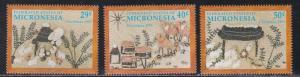 Micronesia # 146-148, Christmas Handicrafts, NH, 1/2 Cat.