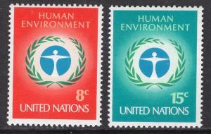 United Nations  New York  #229-230  1972  MNH human environment