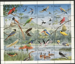MALAWI Sc#598 1992 Birds Miniature Sheet of 20 Different OG Mint Hinged