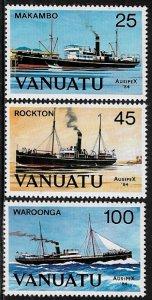 Vanuatu #377-9 MNH Set - AUSIPEX '84 - Boats - Ships
