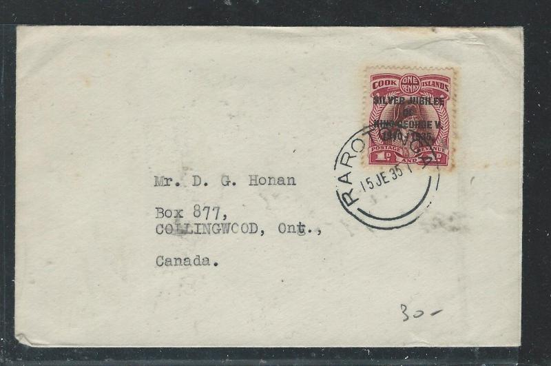 COOK ISLANDS (P2708B) 1935 SILVER JUBILEE 1D SINGLE FRANK TO CANADA