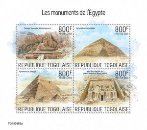 TOGO - 2019 - Monuments of Egypt - Perf 4v Sheet - MNH