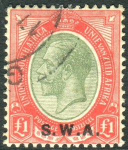 SOUTH WEST AFRICA-1927-30 £1 Pale Olive-Green & Red.  A fine used example Sg 57