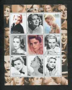 2000 Tajikistan Commemorative Souvenir Stamp Sheet - Actress Grace Kelly