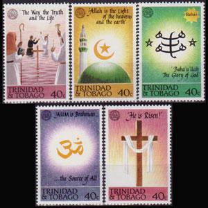 TRINIDAD & TOBACO 1992 - Scott# 544-8 Religions Set of 5 NH