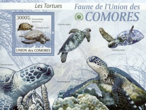 Comoros Turtles Stamps 2009 MNH Green Sea Turtle Fauna Reptiles 1v S/S