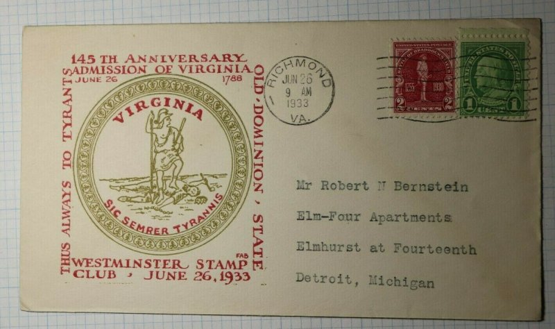 Westminster Stamp Club Ricmond VA Philatelic FAB Cachet Cover 1933