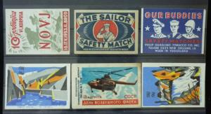 Match Box Labels ! military army solider guns chopper novj sailor yugoslavia GN9