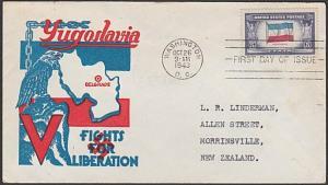 USA 1943 censored FDC to New Zealand - Overrun Nations YUGOSLAVIA..........57738