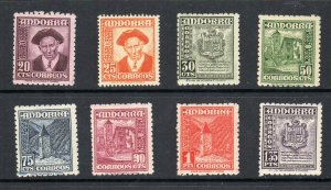 Spanish Andorra 1945-1953 Scott # 40-47  Mint Hinged