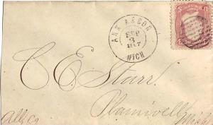 United States Michigan Ann Arbor 1867 double ring cds, circular grid  3c Wash...