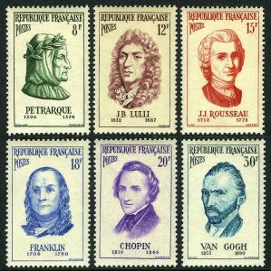 France 811-816, MNH. Petrarch,Lully,Rousseau,B.Franklin,Chopin,van Gogh, 1956