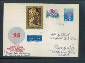 Air Mail Cover Budapest Cancel Topical Cachet + Stamps to Beverly Hills FC162
