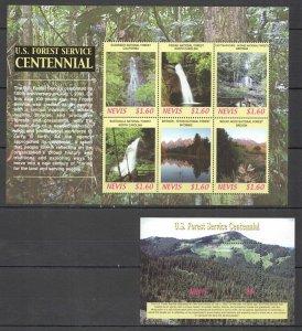 R1220 2005 NEVIS NATURE LANDSCAPES U.S. FOREST SERVICE CENTENNIAL BL+KB MNH