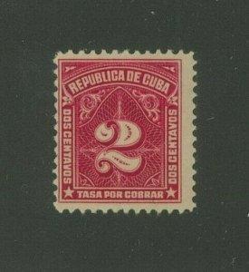 Cuba 1914 2c carmine rose Postage Due, Scott J6 Mint Hinged, Value = $9.00