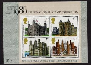 Great Britain  #831-834a   MNH  1978 sheet historic buildings