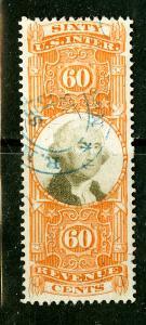 US Stamps # R142 60c Revenue XF USED A Blazing Gem Scott Value $125.00