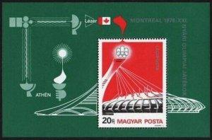 Hungary C365,MNH.Michel 3132 Bl.119. Olympics Montreal-1976.Stadium,satellite.