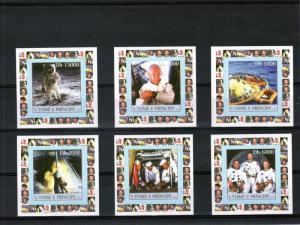 Sao Tome & Principe 2003 SPACE APOLLO 11 6 Deluxe s/s Mint (NH)