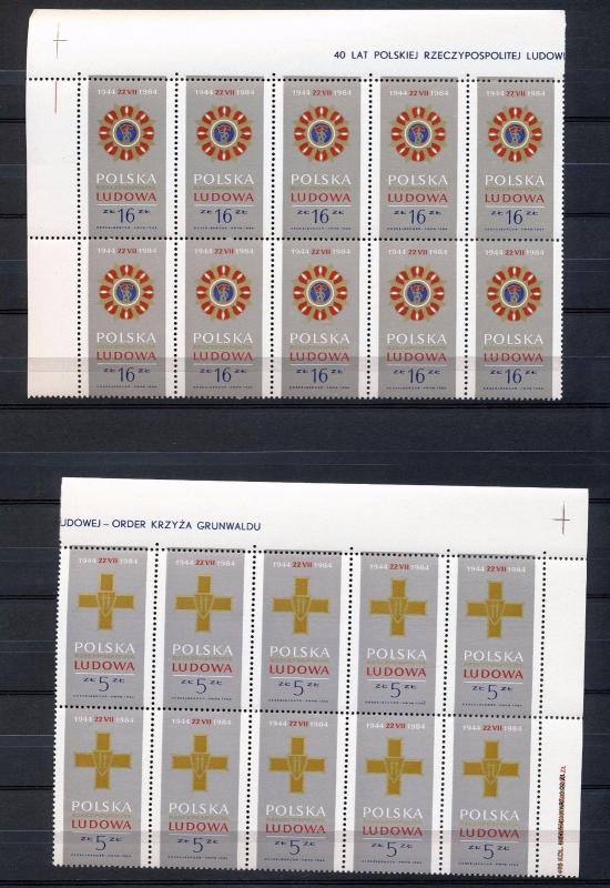 POLAND 1984 Medals Blocks MNH 40 stamps (Go 738