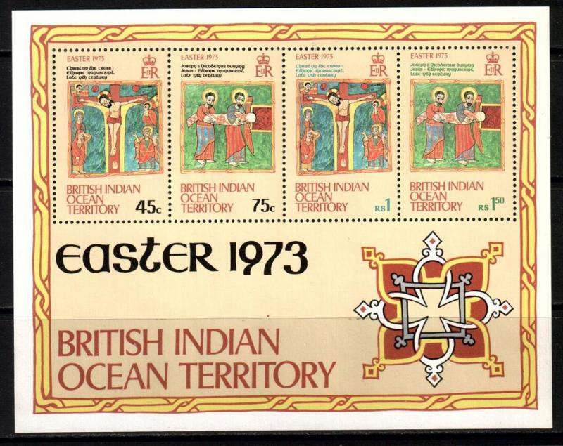 Indian Ocean Terr BIOT Scott 53a, 1973 Easter Souvenir Sheet MNH**